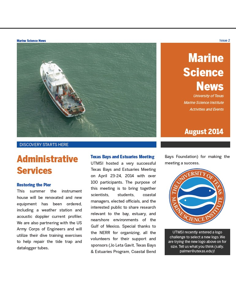 UTMSI now has a newsletter!